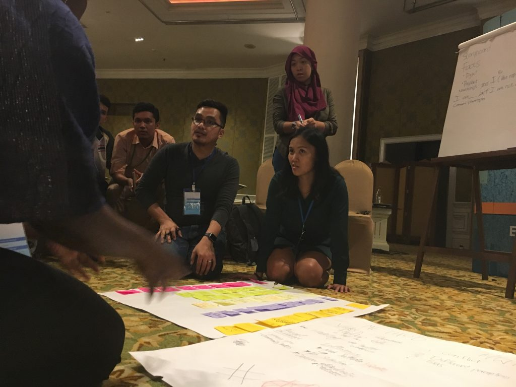 TechCamp participants sit on the floor as they brainstorm