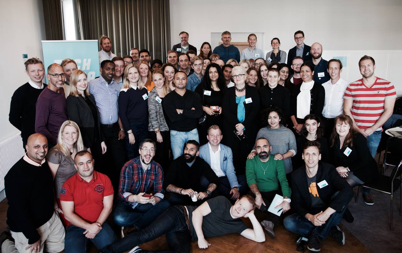Participants, trainers, and U.S. Department of State staff at TechCamp Scandinavia