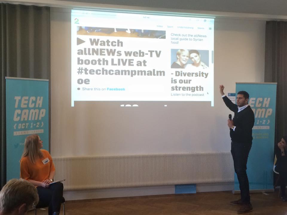 Participants presentthe idea behind 'allNEWs,' amedia channel geared toward minorities in Scandinavia