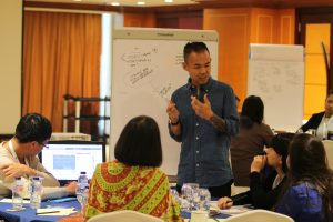 Trainer Adriel Luis leading a small group discussion