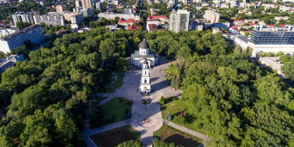 Aerial view of Chisinau with Nativity Cathedral and bell tower. (Shutterstock)