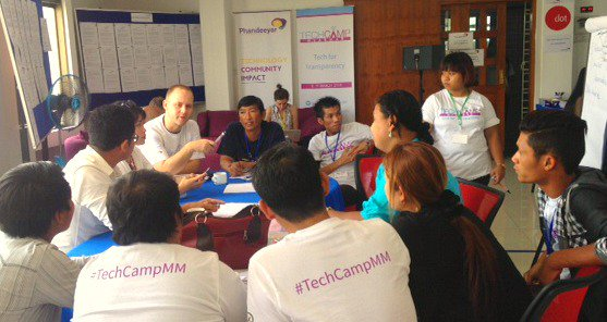 Developing action plans on day 2 of TechCamp Myanmar