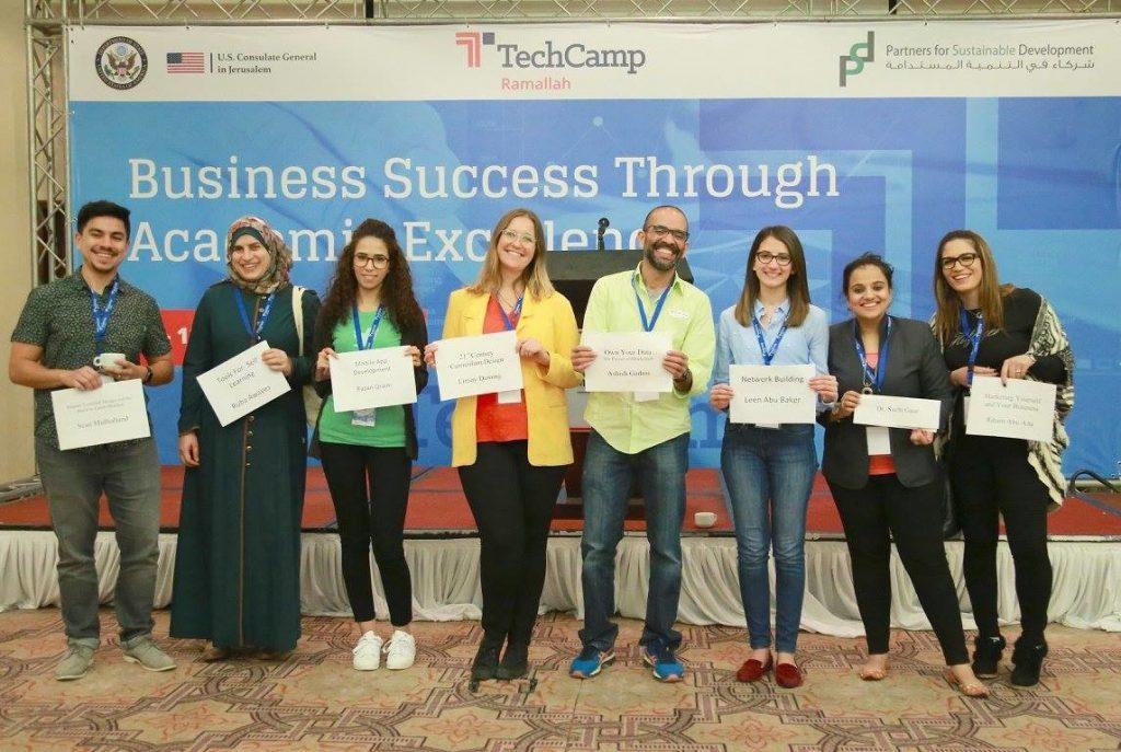 TechCamp Ramallah trainers Sean Mulholland, Ruba Awayes, Razan Qraini, Linsey Deming, Ashish Gadnis, Leen Abu Baker, Dr. Suchi Gaur and Riham Abu Aita.